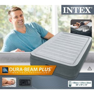 Intex 67766 DuraBeam Midrise Twin 1-Persoons Luchtbed + Pomp 99x191x33cm