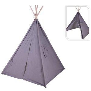 Kids Collection Tipi Tent met 4 Houten Stokken 103x103x160cm Grijs