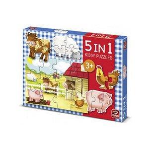 King 5in1 Puzzel de Boerderij 2-12 Stukjes