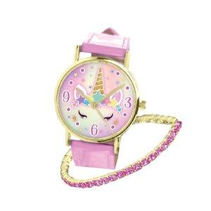 Analoge Eenhoorn Horloge met Armband Roze