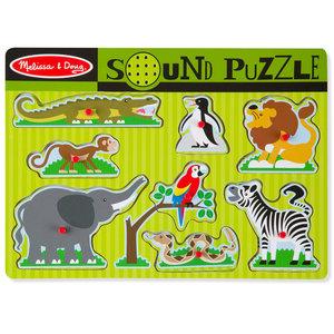 Melissa & Doug Houten Puzzel + Geluid Dierentuindieren