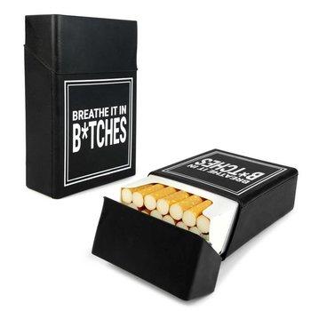 Tuff-Luv - Siliconen Sigaretten doosje (Breathe it in B*tches) - Zwart