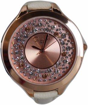 Di Lusso dames horloge - Rose met steentjes/beige bandje