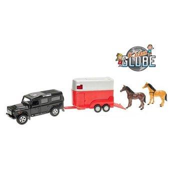 Kids Globe Pull-Back Landrover met Paardentrailer + 2 Paarden Assorti