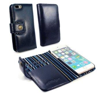 Alston Craig Echt Leren Magnetische Portemonnee Hoesje met RFID Bescherming Iphone 7 Plus - Blauw