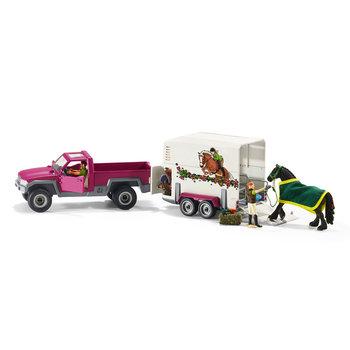 Schleich Pick-Up met Paardentrailer + Paard en 2 Figuren