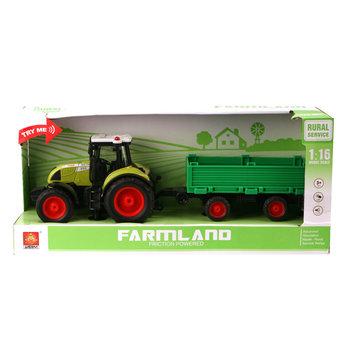 Wenyi Farmland Tractor + Aanhanger met Licht en Geluid 1:16 Groen