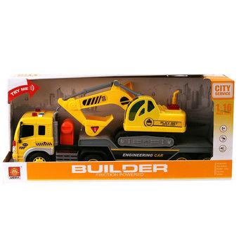 Wenyi Builder Vrachtwagen en Graafmachine met Licht en Geluid 1:16