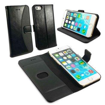 Tuff-Luv Echt lederen portemonnee hoes en screen protector voor iPhone 6/ 6s  Zwart