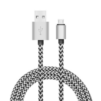 Tuff-Luv - Geweven USB kabel  3.1 Type-C naar USB Type-A Data & Oplaadkabel 1.2 meter - Zilver