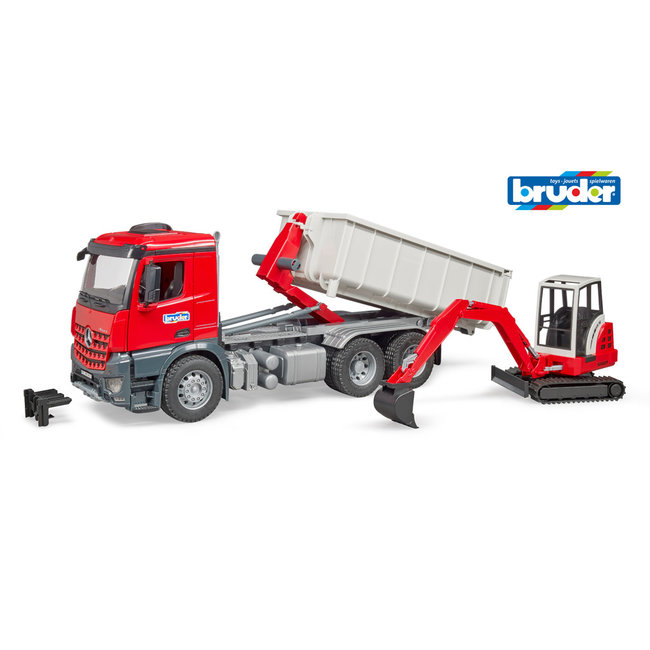 Bruder 03624 MB Arocs Vrachtwagen + Schaeff Mini Bagger 1:16